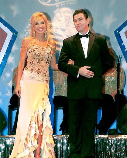 Dr. Denise Wood escorted by Dr. James Wood for a televised production of the Mrs. Mn. America Pageant